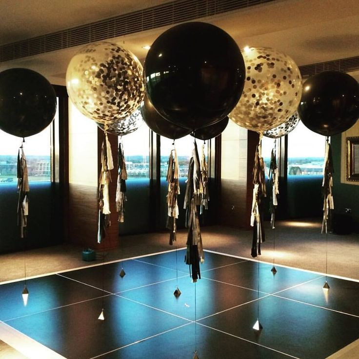 Image result for cubez gold black decor balloons school for Helium balloon centerpieces