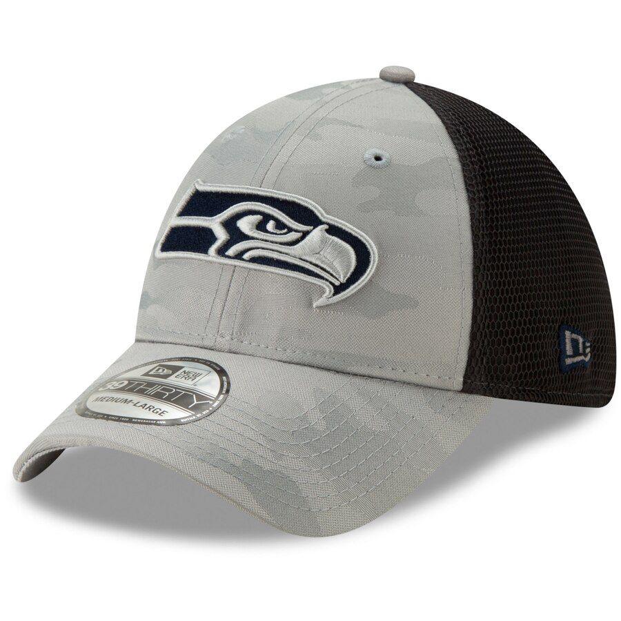 b33576fe Men's Seattle Seahawks New Era Gray Camo Front Neo 39THIRTY Flex Hat ...
