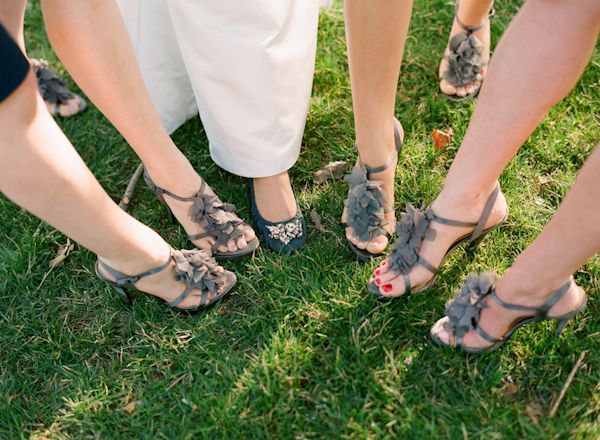 ruffle gray wedding shoes 550x403 Inspiration: Colorful Wedding ...