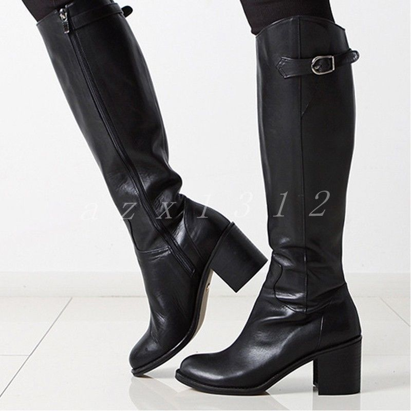 2cc6cebb115 Womens Zip Leather Round Toe Shoes Block Heels Riding Knee High Boots Size