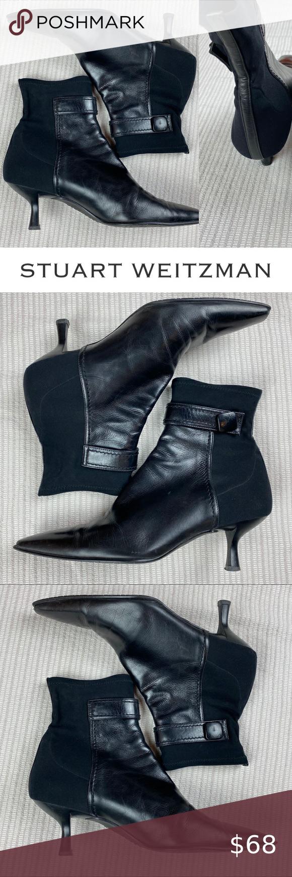 Stuart Weitzman Leather Ankle Boots Kitten Heel In 2020 Leather Ankle Boots Halloween Shoes Kitten Heels