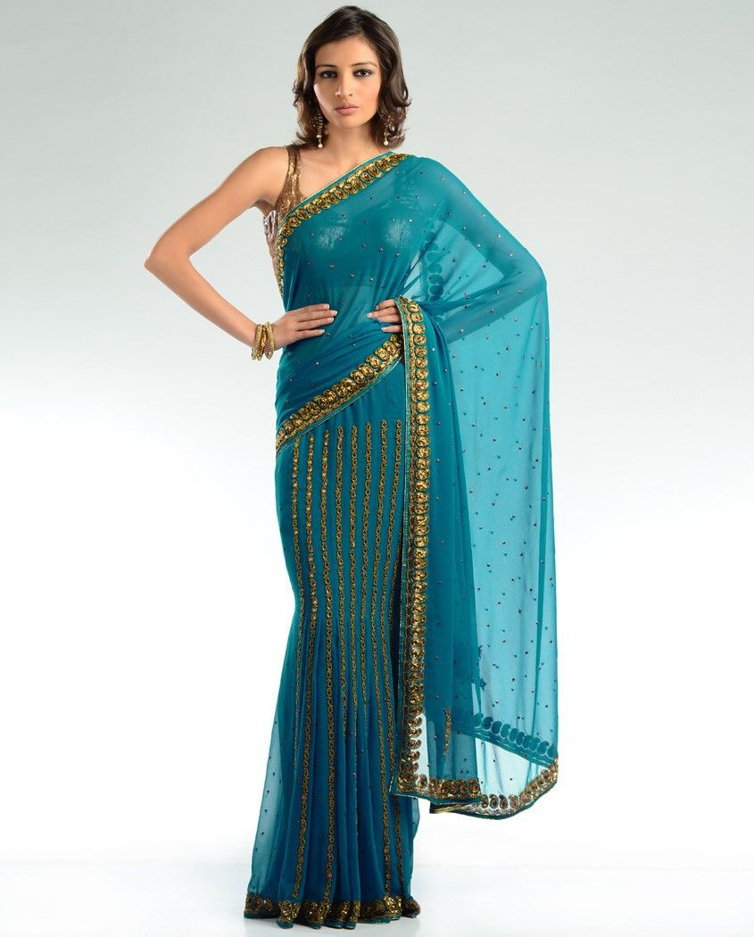 #sari #wedding #gold #teal $140  Want 10% off? Use my invite link!  http://exclusively.in/invite/animefreak720
