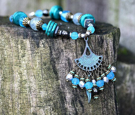 Blue Native necklace Tribal Charms Patinated by MayaHoneyJewelry, $36.00 Coupon Code for 10% discount - PIN10MH