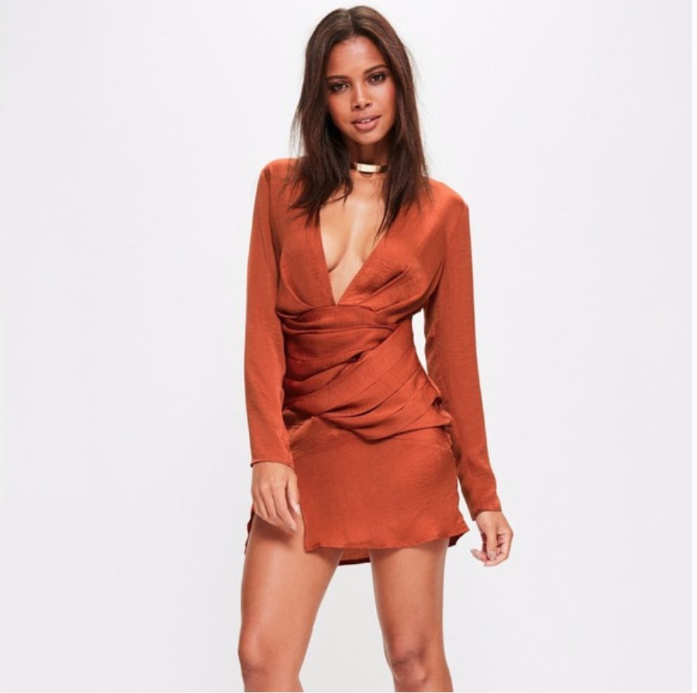 34++ Burnt orange long sleeve dress trends