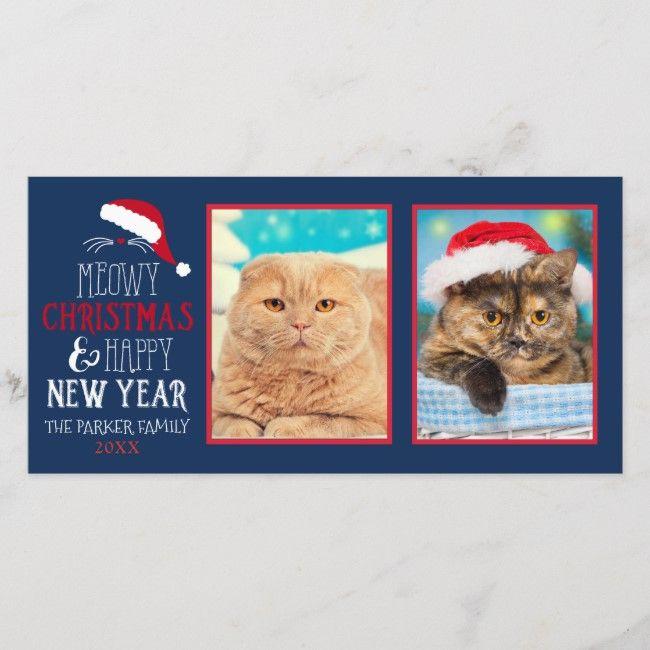 meowy christmas cat 2 photo photocard holiday card