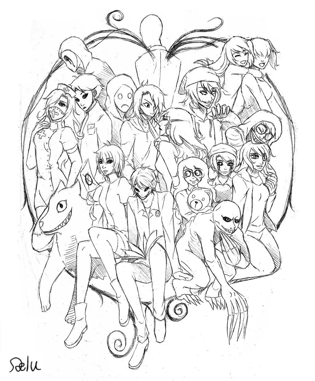 It is a graphic of Dramatic Creepypasta Coloring Pages