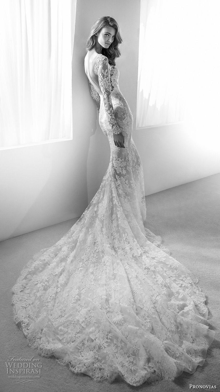 Atelier pronovias bridal long sleeves illusion bateau