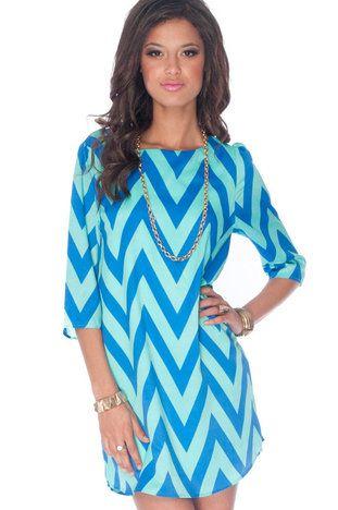 Zazie Shift Dress in Blue and Aqua
