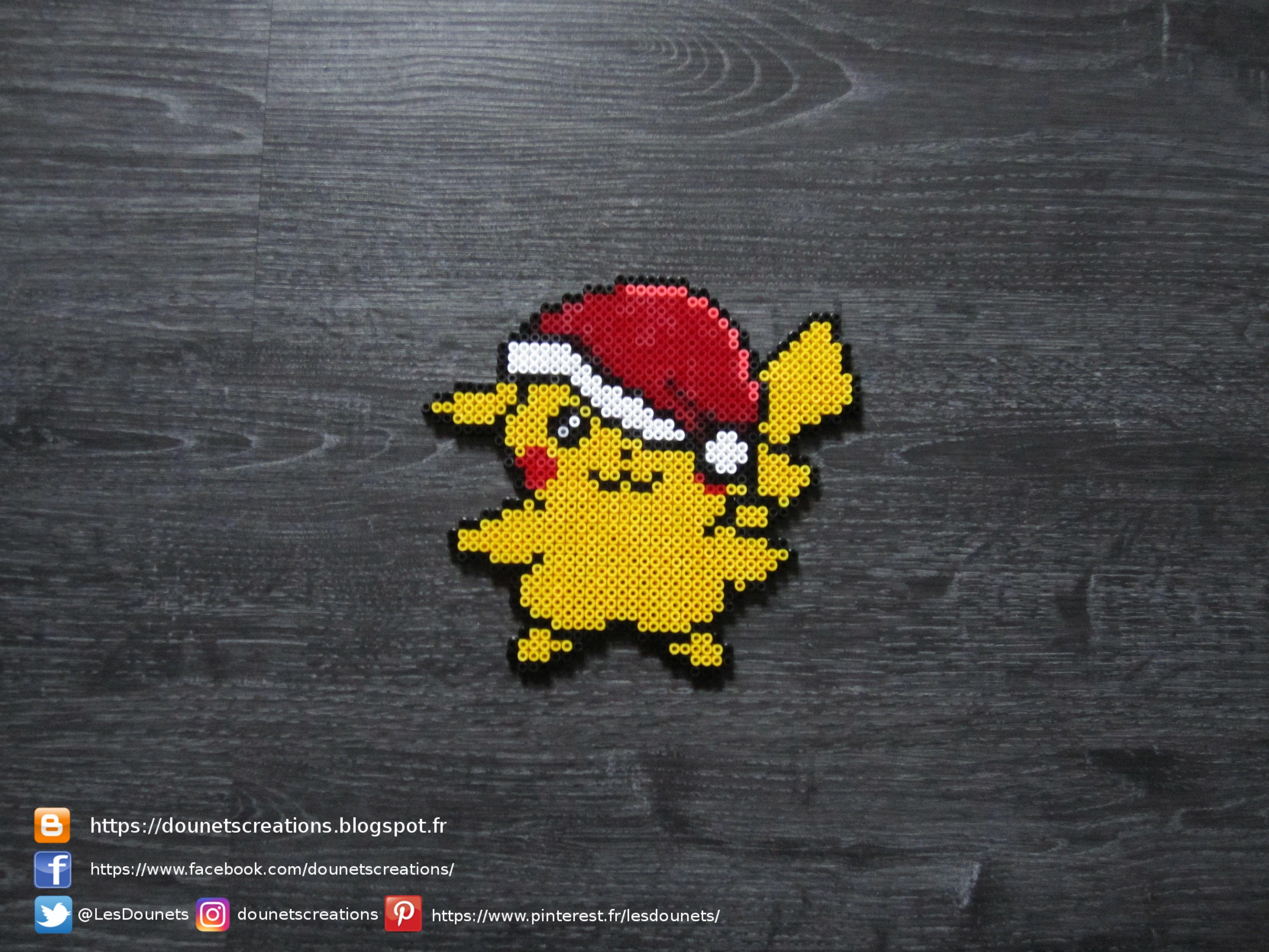 Pokemon Pikachu De Noel Perles Hama Pokemon Christmas Pikachu Perler Beads Perles Hama Perles Hama Noel Pokemon Perle