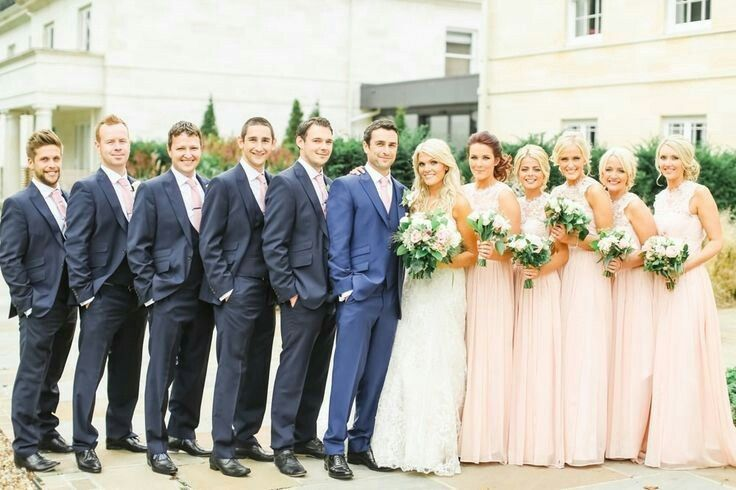 Groomsmen Navy Suits and Pale Pink Bridesmaid Dresses