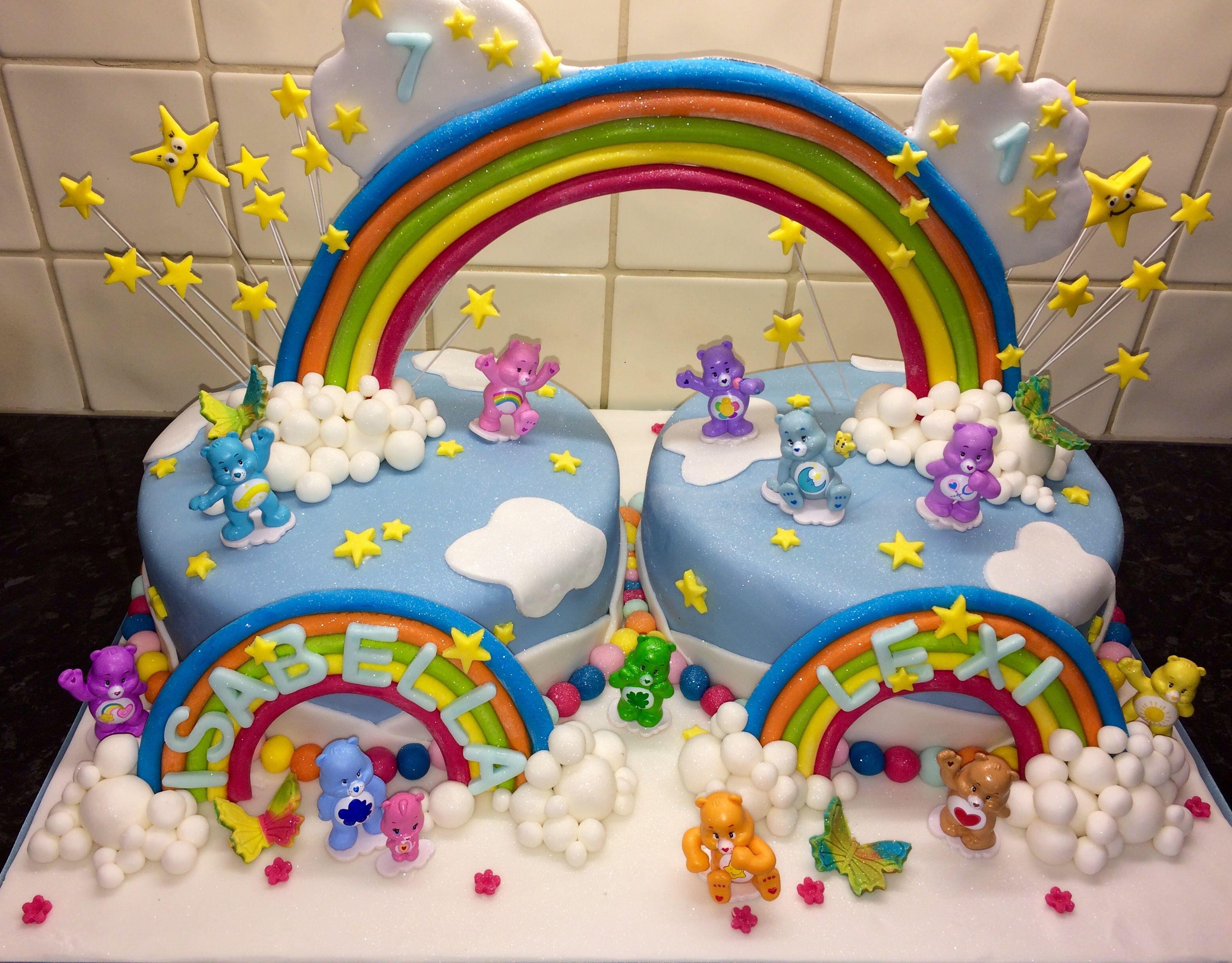 Girls Care Bears birthday cake this was for two birthday girls for