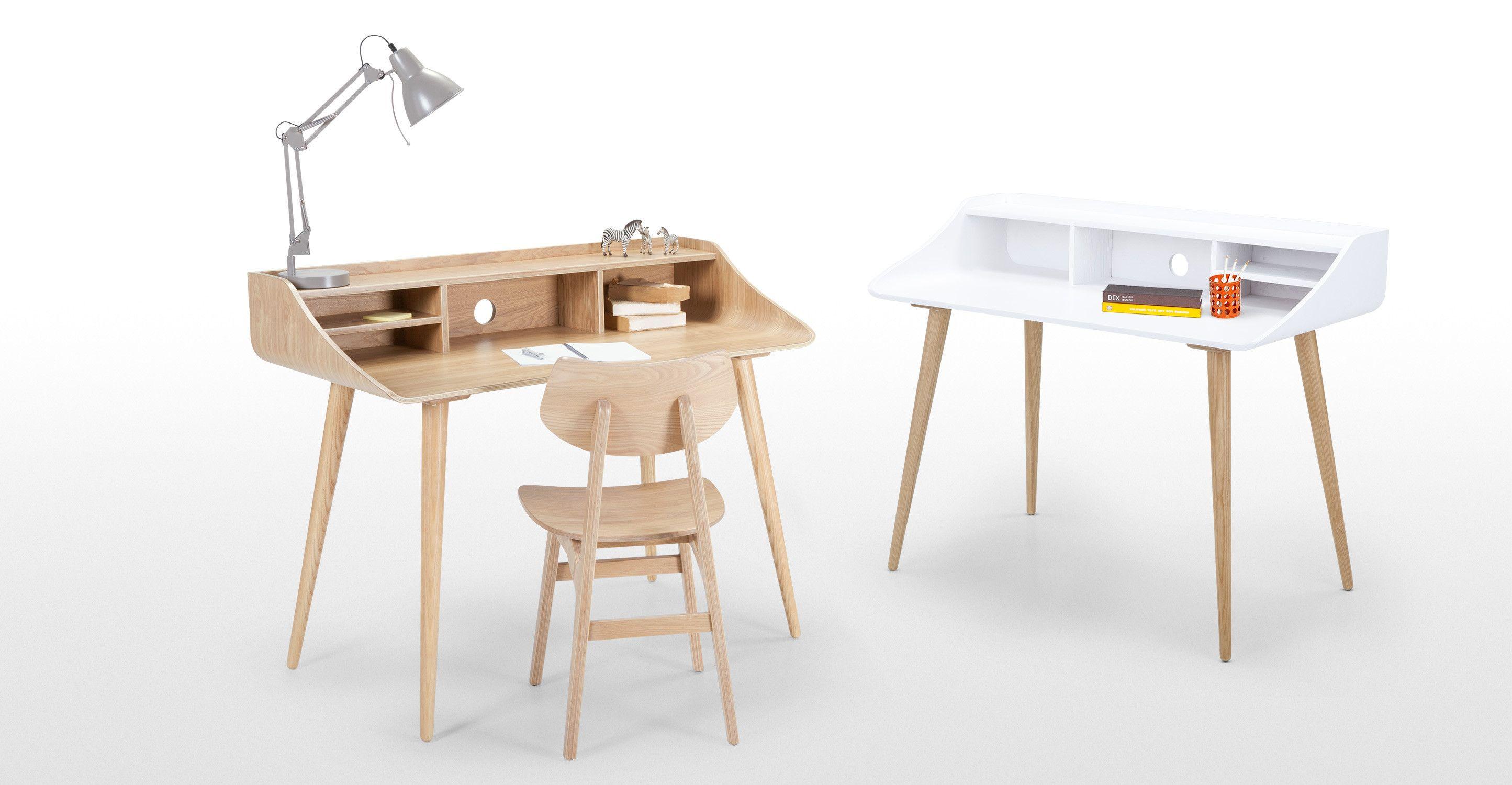 Esme un bureau blanc et frêne bureaux blancs frene et meuble bureau