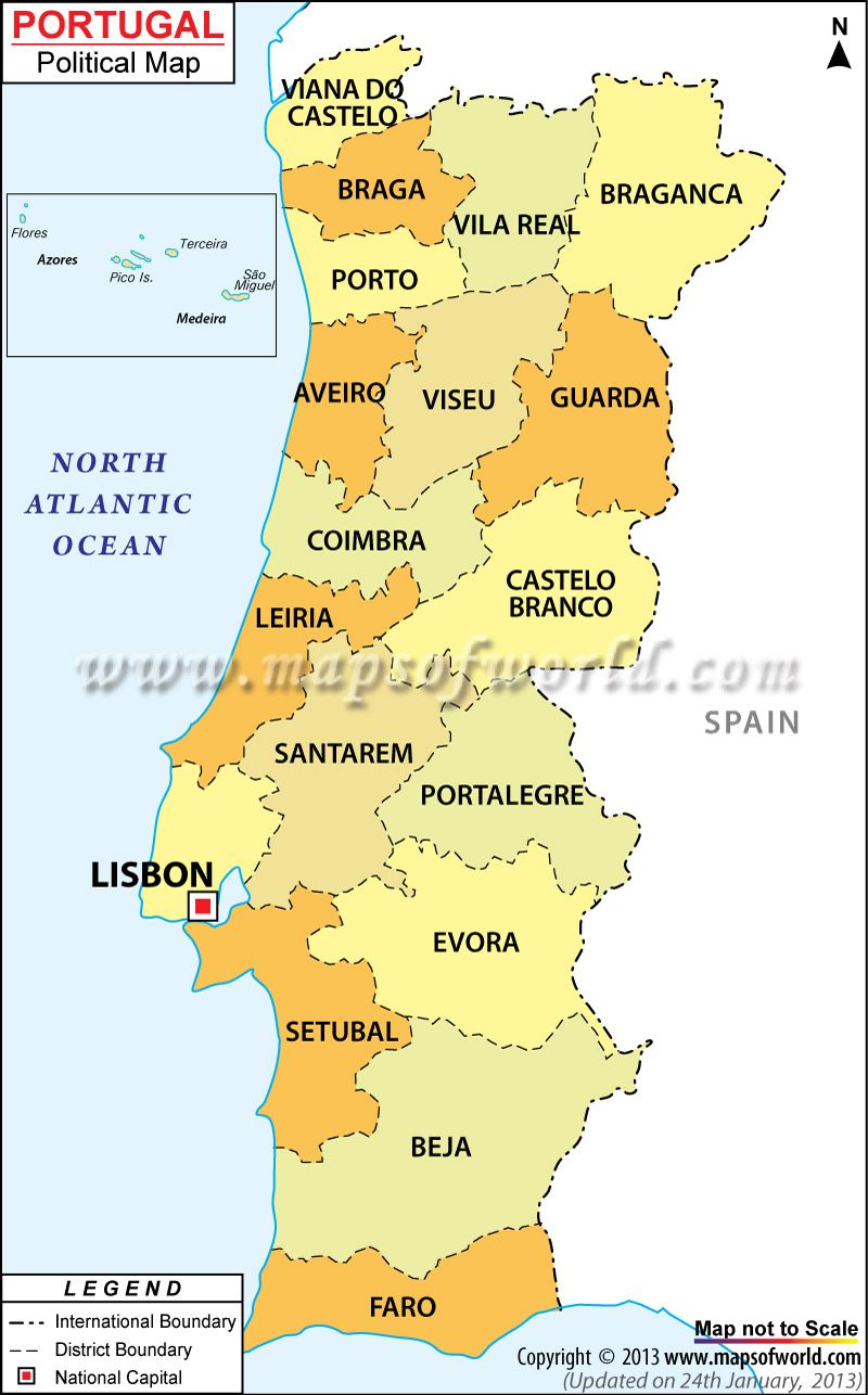 Lisbon Spain Map.Political Map Of Portugal What Where Europe Portugal Spain