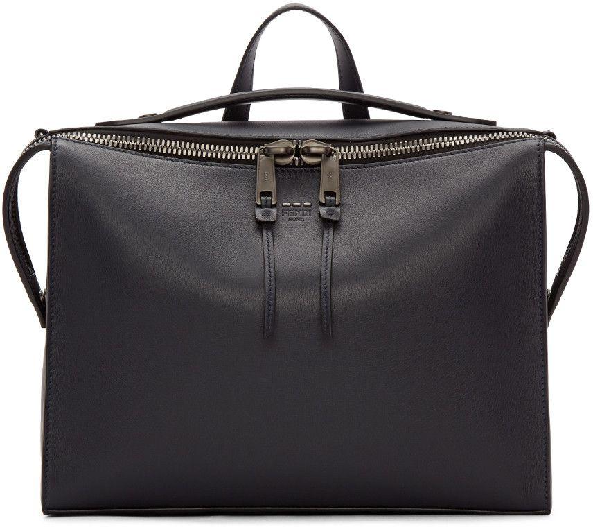 7598402dea Fendi - Navy Leather Small Messenger Bag