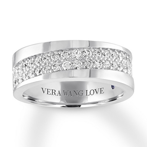 Vera Wang Love Men S Band 1 Ct Tw Diamonds 14k White Gold Jared In 2020 Mens Diamond Wedding Bands Diamond Wedding Bands White Gold Band