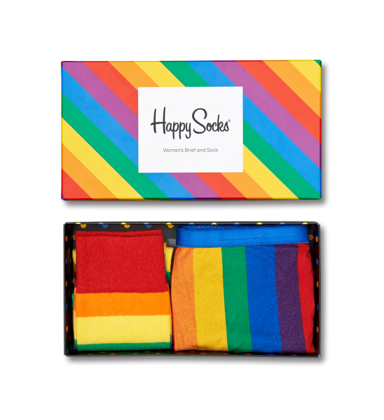 Show your pride or share it with a friend! Pride Gift Box by Happy Socks is the perfect kit for happy summer days. You get one pair Pride Socks and matching Pride Panties, only available in the Pride Gift Box. The socks are in size 36-40 and the women's brief is available in XS-L.