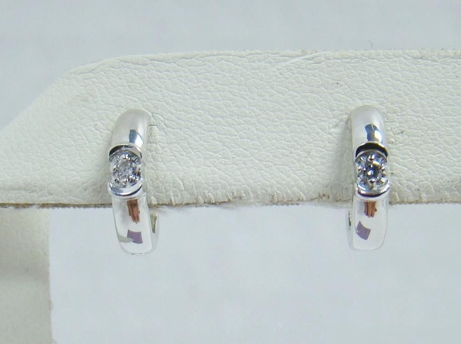 10k White Gold Small Huggie Hoop 05 Ct Tw Diamond 56 X 47 Earrings 2 3g Hoop Round Diamond Earrings Classic Stud Earrings Diamond Earrings