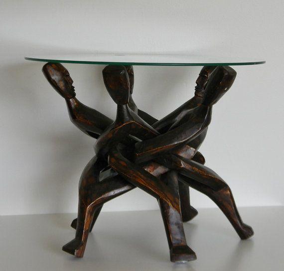 Vintage African Wood Carved Sculpture Table Base On Etsy Sold Sculpture Carving Vintage