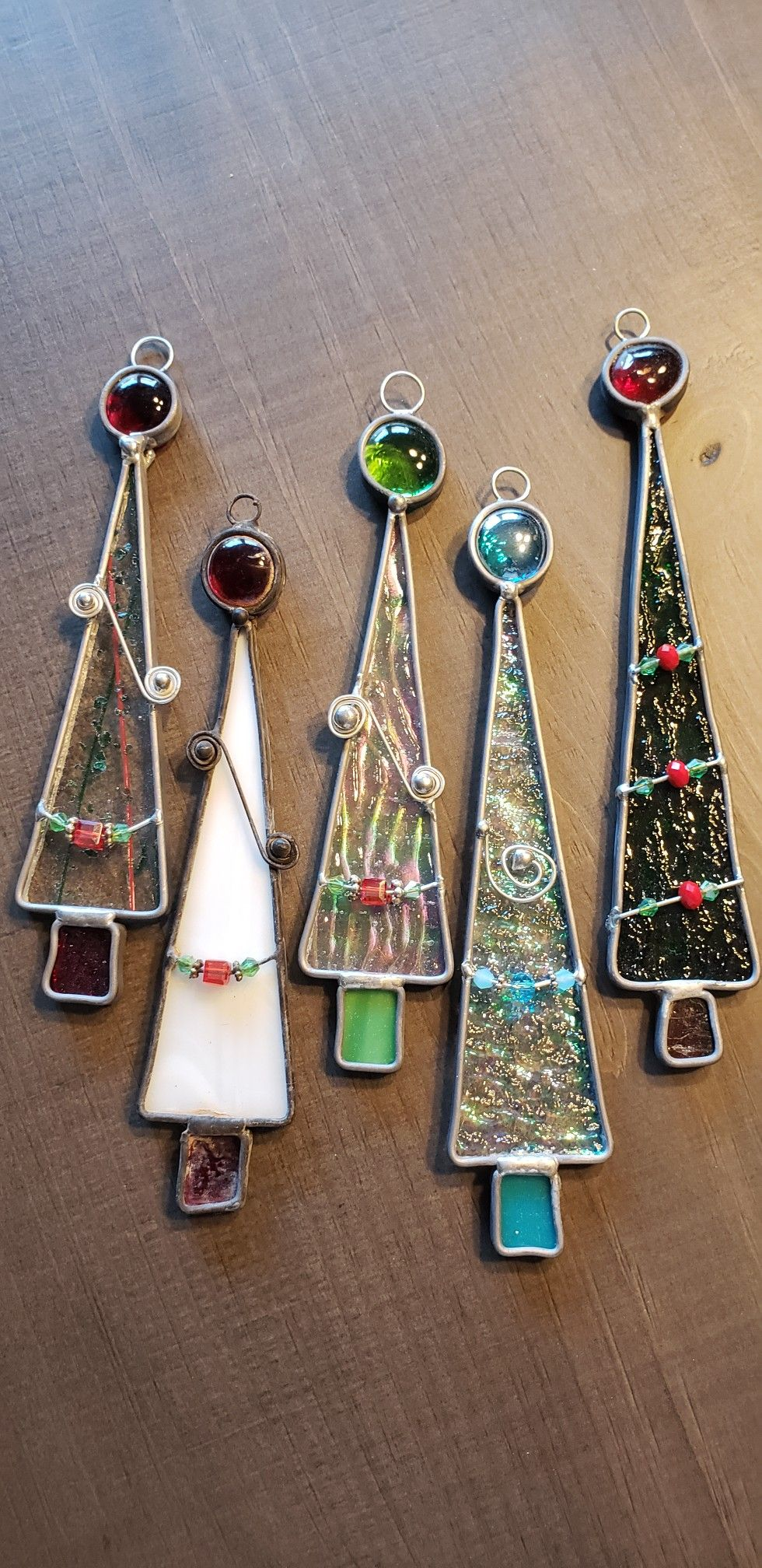 Stained Glass Christmas Tree Ornaments Stained Glass Christmas Stained Glass Crafts Stained Glass Diy