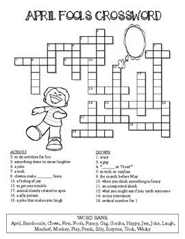 April Fool S Day Crossword Puzzle Color And Bw Versions April