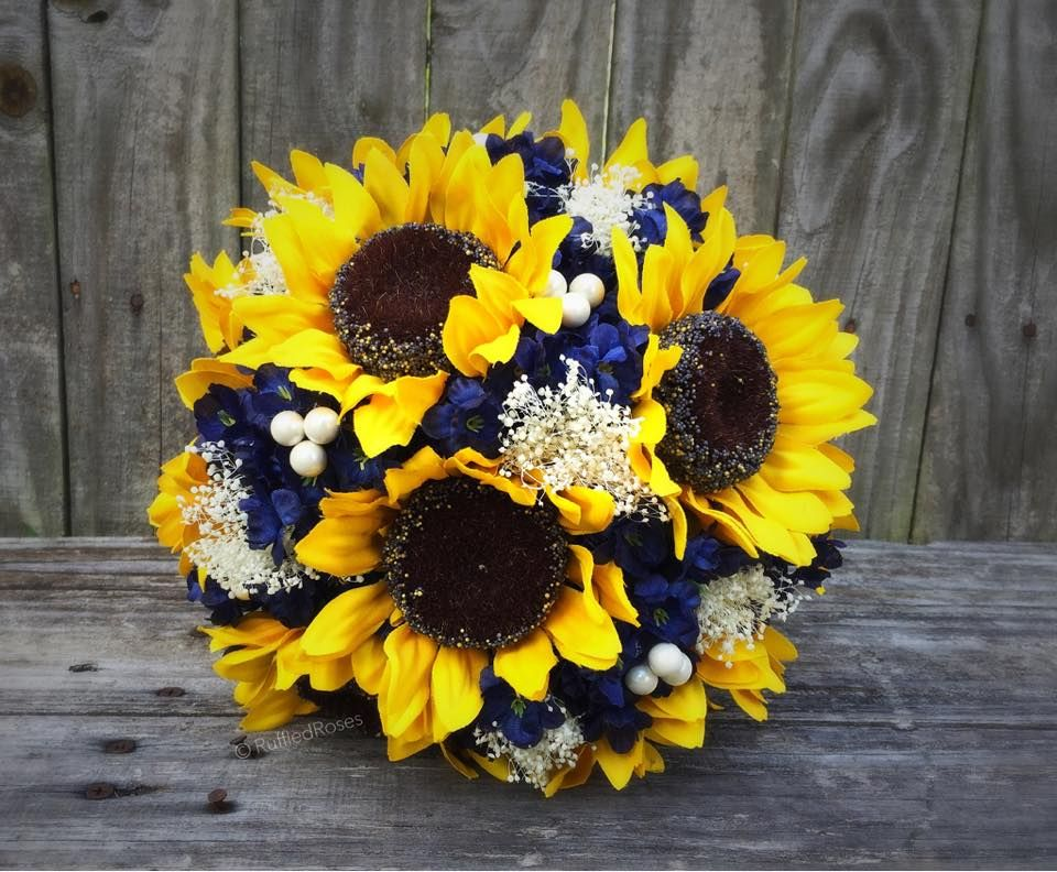 Rustic Sunflowers With Navy Flowers And Babys Breath