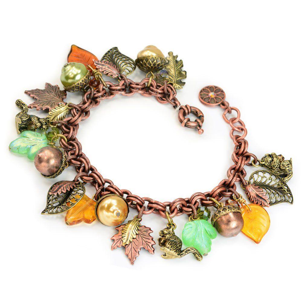 Fall Charm Bracelet Squirrel Jewelry Leaf