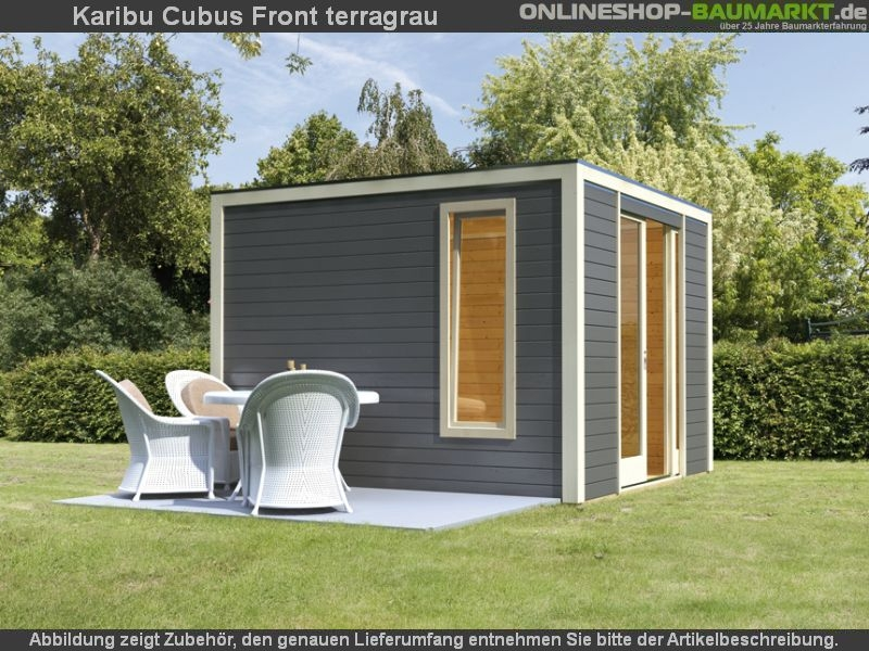 Karibu Cubus Front terragrau   Flachdach Gartenhaus mit viel Licht