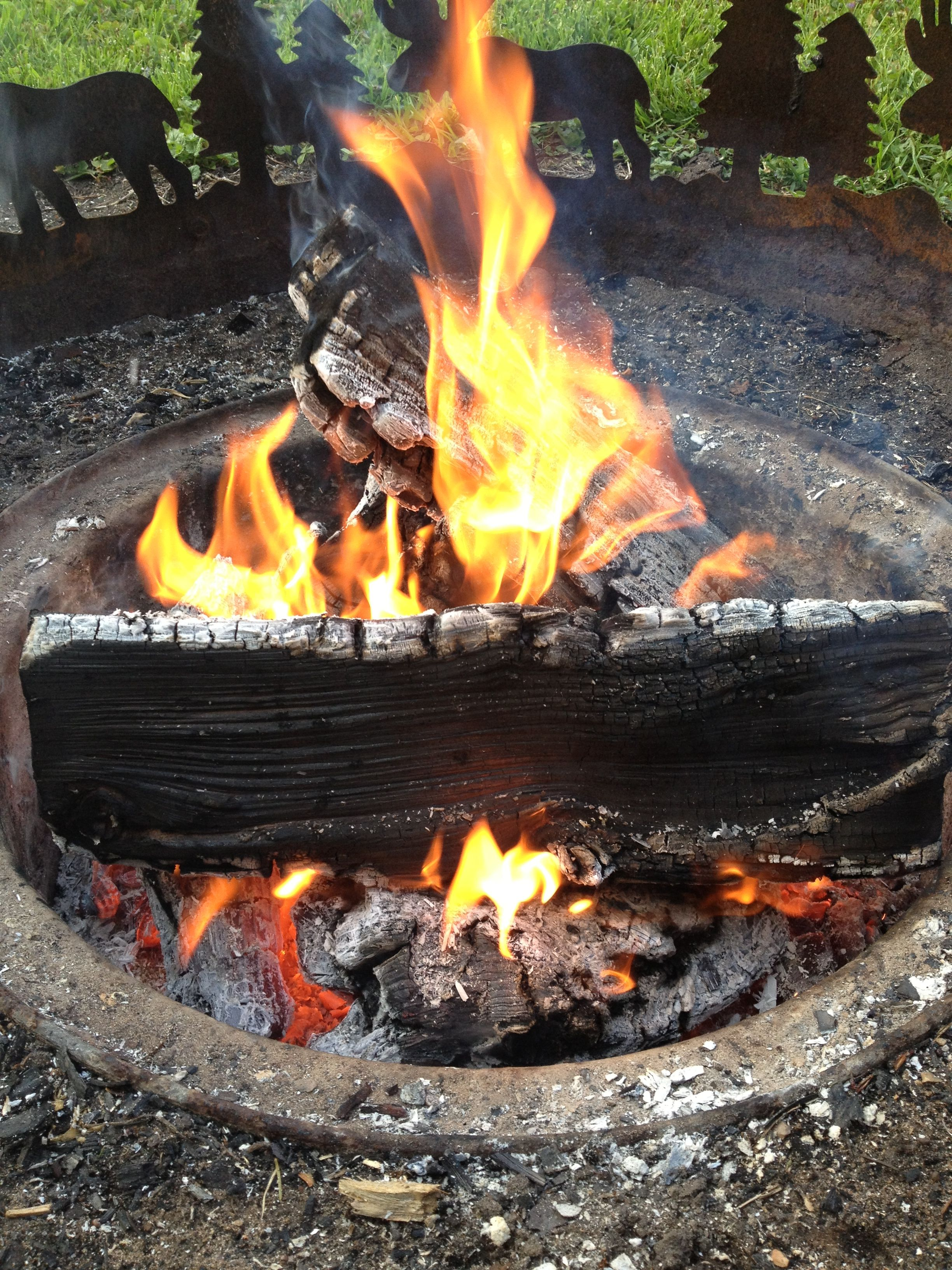 Campfire=warmth fort fun cooking recreation solitude Light one