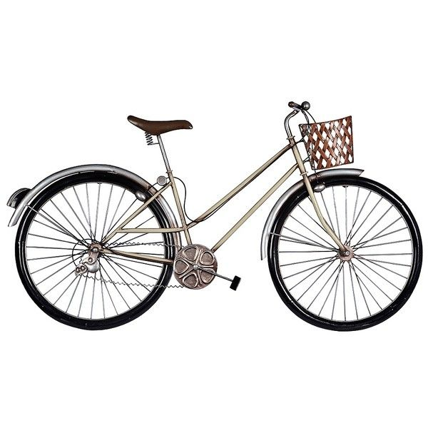 Retro Chrome Bicycle Wall Plaque 27 Liked On Polyvore Featuring Home Home Decor Wall Art Filler Detail Bicycle Wall Art Retro Wall Art Brown Wall Art