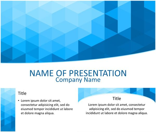 Blue 3d geometrical powerpoint template templateswise powerpoint template with a nice artwork of blue geometric triangles this theme is suitable for presentations on various topics and includes one title slide toneelgroepblik Image collections