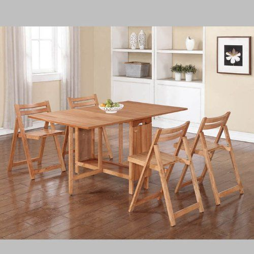 Linon Linon Delany 5 Piece Space Saver Folding Dining Set With Fascinating Space Saver Dining Room Table Review