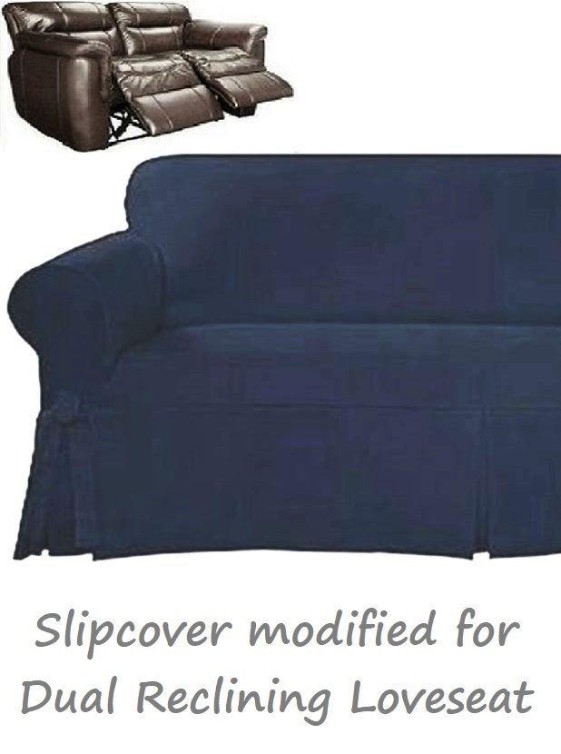 Dual Reclining Loveseat Slipcover Farmhouse Twill Navy