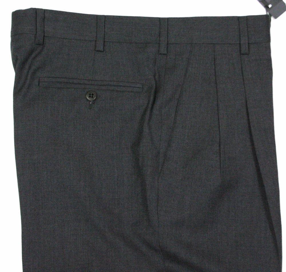 Zanella Bennett 4 Season Wool Charcoal Dress Pants 32R NEW #Zanella #DressPleat