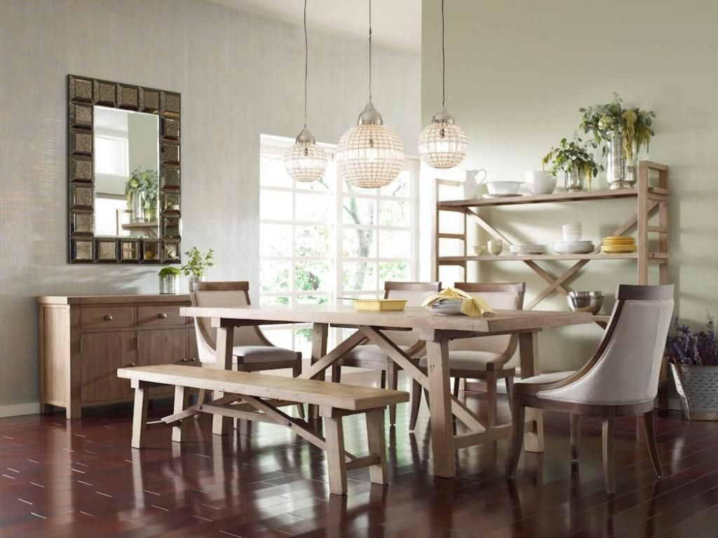 Small Woden Dining Table With Three Hanging Lamps For Lighting The Alluring Dining Room With Kitchen Designs Design Inspiration