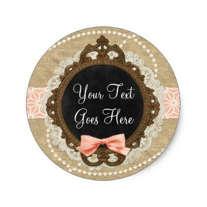Shabby Chic Chalkboard Rustic Burlap & Coral Bow Classic