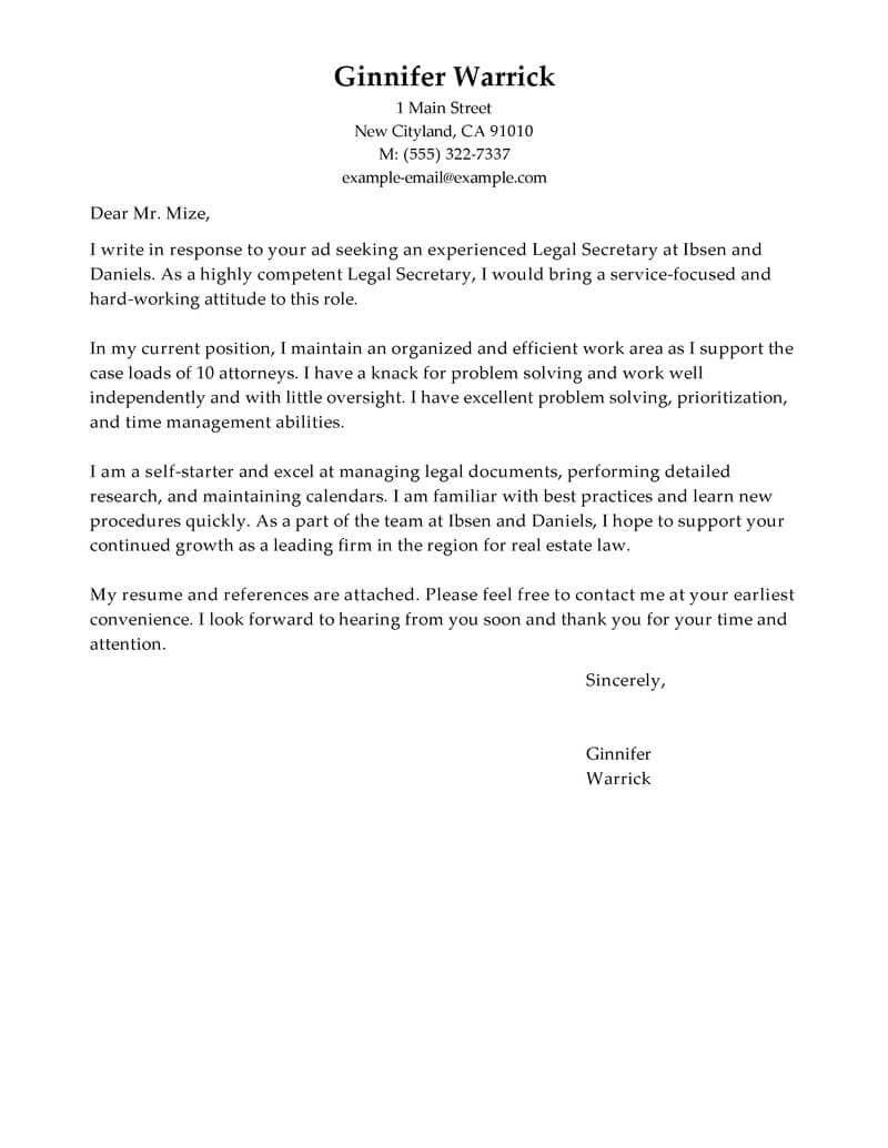 26 Cover Letter Font Cover Letter Example Cover Letter For Resume Cover Letter Tips Legal secretary cover letter no experience
