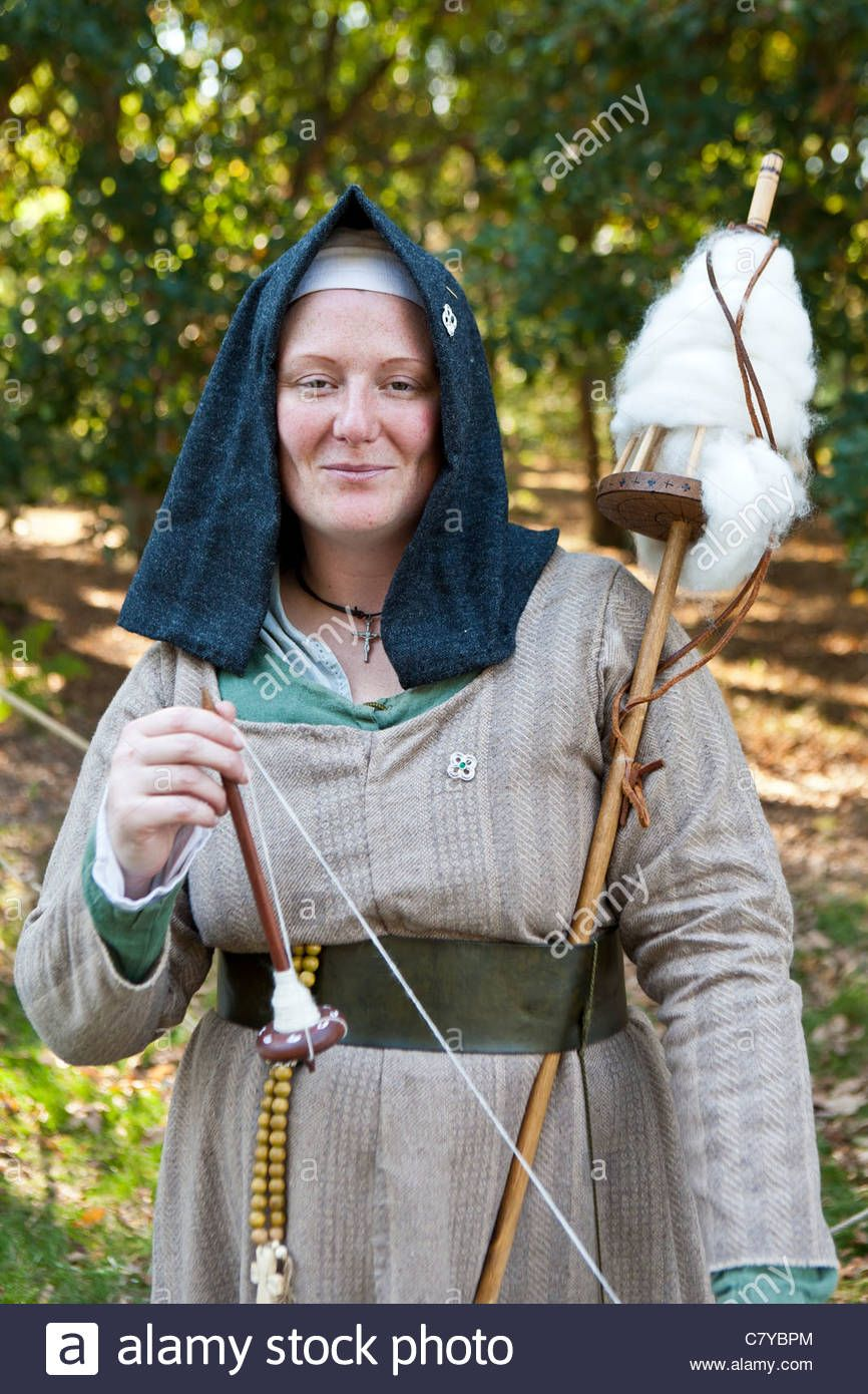 Medieval Period Drop Spindle And Distaff. Sherwood Forest
