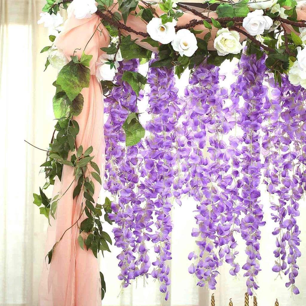 42 Lavender Artificial Wisteria Vine Silk Hanging Flower Garland In 2020 Artificial Silk Flowers Flowering Vines Lavender Wedding Decorations