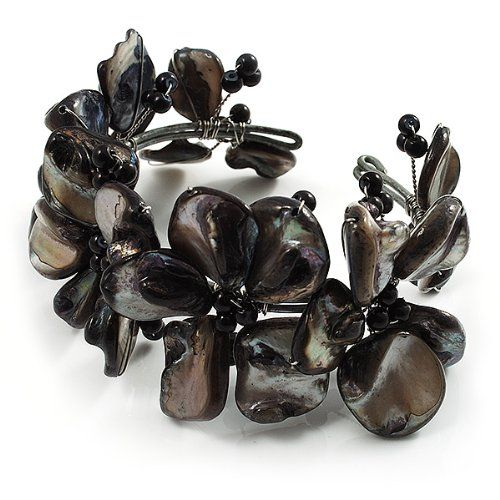 Black Floral Shell & Simulated Pearl Cuff Bracelet: Amazon.co.uk: Jewellery
