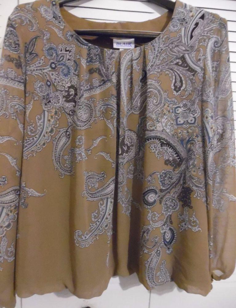 899e6ff5168 BLAIR wide long sleeve top blouse brown boho PLUS 2X XXL  Blair  blousetop   allocassions