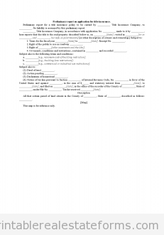 Sample Printable Preliminary Report On Application For Title Insurance Form Real Estate Forms Title Insurance Business Agreement