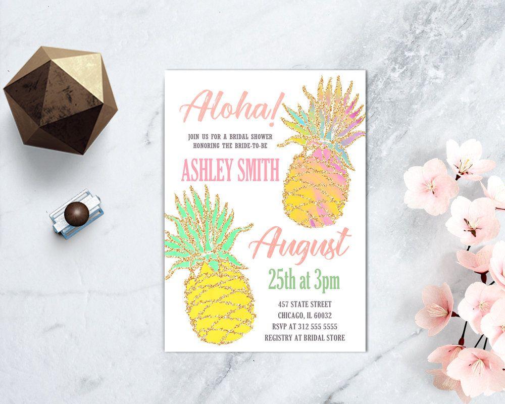 Pineapple Bridal Shower Invitation, Luau Bridal Shower, Aloha Shower ...