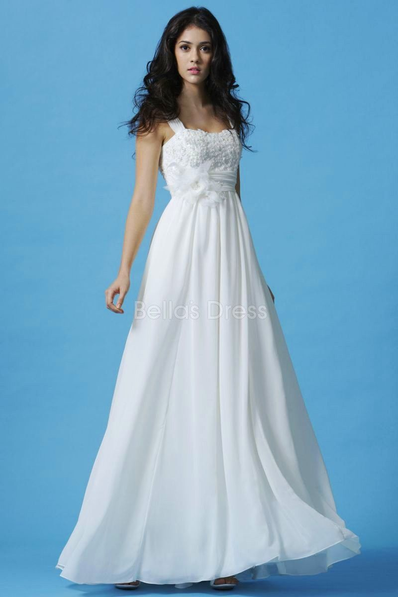 Chic chiffon sheath column empire waist straps sleeveless wedding