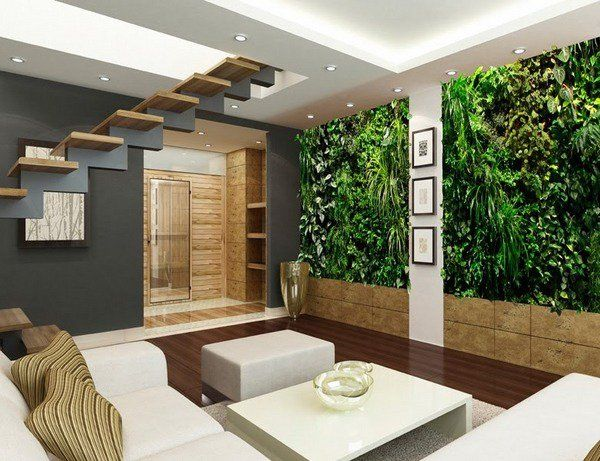 Vertical Wall Garden Green Modern Living Room Design Decoration Ideas