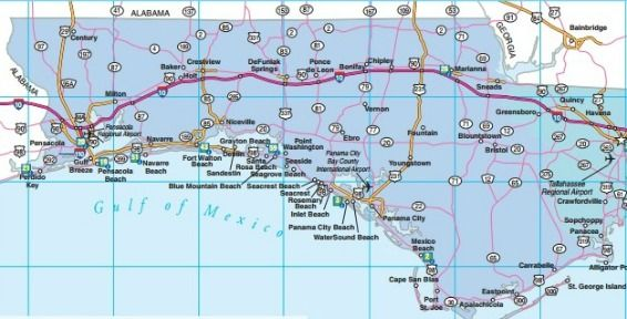 Northwest Florida Map.Northwest Florida Road Map Showing Main Towns Cities And Highways
