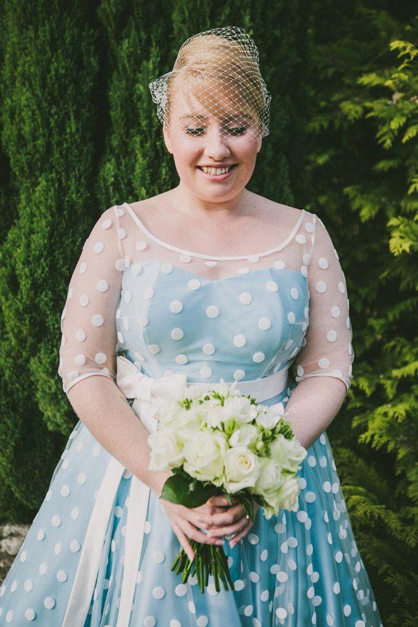 Blue 1950s style tea length polka dot wedding dress with bow and ...