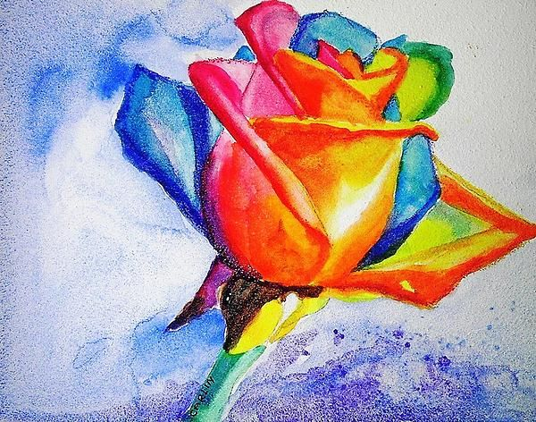 Rainbow rose watercolor painting by carlin blahnik a real for Rainbow colored rose