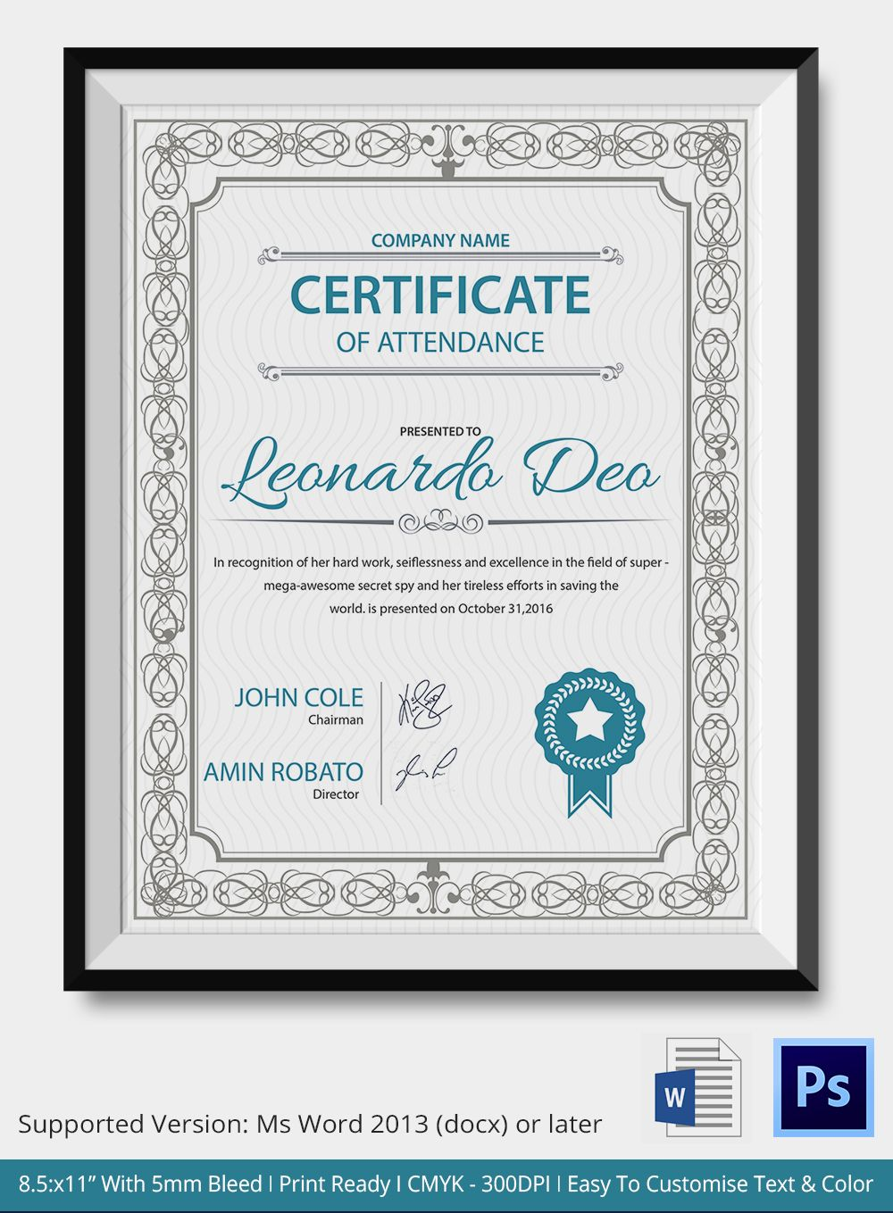 Professional editable certificate of attendance template sample professional editable certificate of attendance template sample for company with blue and gray color scheme yadclub Images