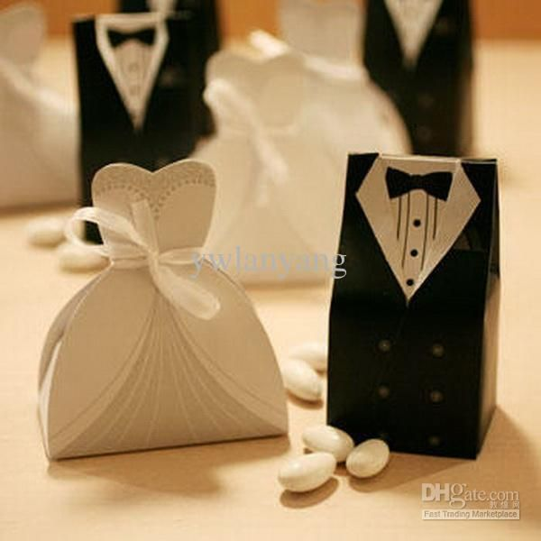 Bridal Gift Cases Groom Tuxedo Dress Gown Ribbon Wedding Favor Candy