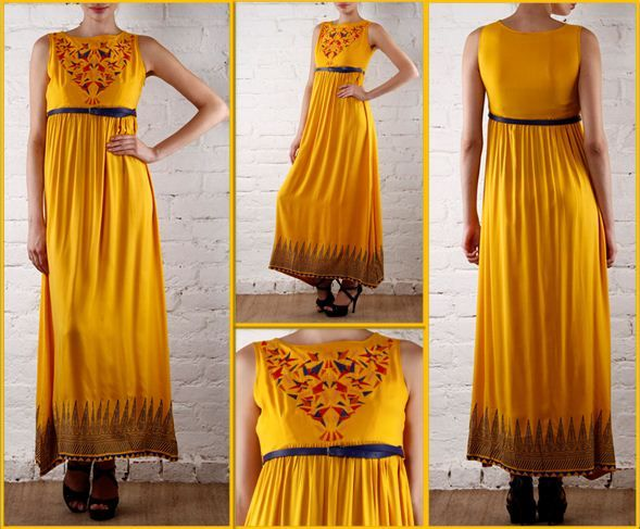 Winter Sale FLAT 30% OFF ON Yellow Embroidered #Viscose #Gown By #GLOBALDESI